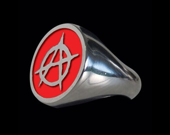 Solid 92.5% Sterling Silver Anarchy Ring with Red Enamel - Free Re-Size/Shipping