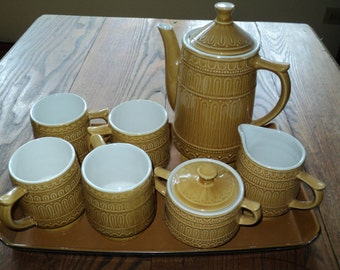 Vintage Harvest Gold Ceramic Tea/Coffee Service Set, Made in Japan, 4 Cups, Cream and Sugar Set and Teapot with plastic tray