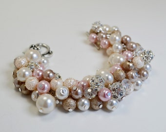 Ivory, Pink and Champagne Pearl bracelet, Ivory Wedding Bracelet, Bridesmaids Gift, Vintage Style Jewelry, Chunky Bracelet, Cluster Bracelet