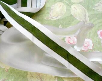 Ecru and Green Ribbon Trim