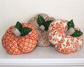 Set of 3 Orange Fabric Pumpkins / Fall Home Decor / Halloween / Thanksgiving / pumpkins 6 in diameter