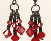 Red Coral Earrings Three Tier Dangle