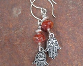 Magical Protection - Hamsa Hand Charms and African Fire Agate Earrings