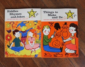 Set of 2 Vintage Children's Activity Books / Workbooks - Riddles, Rhymes and Jokes & Things to Make and Do - Unused (1963)