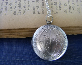 Silver Globe Locket, map Necklace,  Graduation gift, adventure gift, gift for her