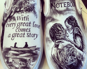 Nicholas Sparks The Notebook Custom Made Vans ARTWORK AND SHOES Included