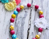 Chunky Bubblegum Necklace- Pink, Yellow and Turquoise