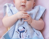 Pullover Baby Bib Light Blue with Snowman and White Polka Dots