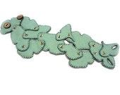 Felt Cuff Ginkgo - Teal, mint, light green Wrist Warmers, Bracelet, Single Hand embroidered Ginkgo Leaves