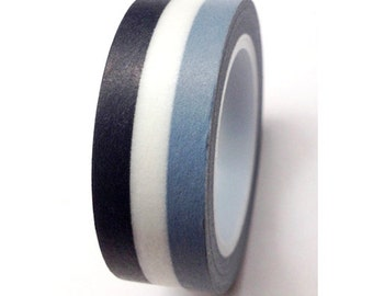 Stripe Washi Tape - Black, White, Grey Stripes - 15mmx10m - 1 Roll - Ships IMMEDIATELY from California  - TP81