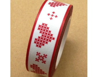 Heart Washi Tape - White w/Red Hearts - Valentines - Digital - 15mmx10m - 1 Roll - Ships IMMEDIATELY from California - TP188