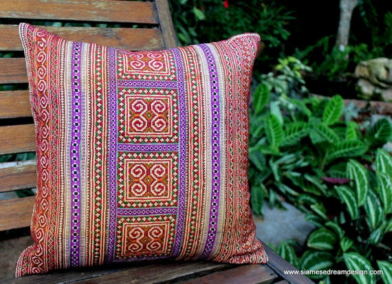 Ethnic Pillows In Hmong Embroidery 16 inch Decorative Throw