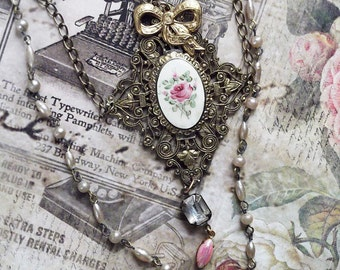 Edwardian Style Brass Vintage Filigree Enamel Rose Crystal Vintage Rosary Bead Chain Necklace