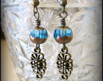 CLEARANCE Bohemian Bronze and Turquoise Dangle Earrings