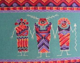 Mayan or Aztec Themed Print - Deep Bright Colors - Awesome Wall Hanging