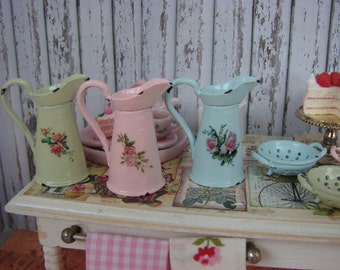 Dollhouse Miniature Shabby Chic Vintage French Victorian Style Metal Tall Jug Pitcher with Detailed Roses Motif
