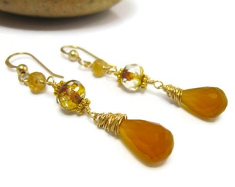 Garnet Earrings Hessonite Garnet Earrings Yellow Earrings Czech Glass Gold Yellow Jewelry Wire Wrapped Spring Trends Gift Idea For Her