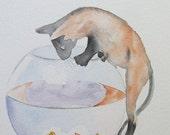 Watercolor Painting Kitten Trouble