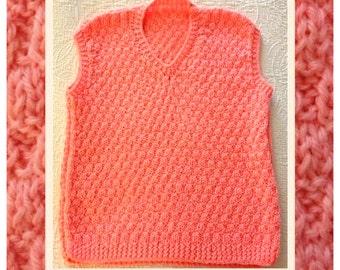 Vintage 1970s Bubblegum Pink Fluorescent Sleeveless Crochet Sweater Size Medium