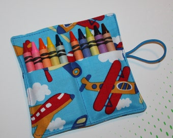 CUSTOM for 1 March Party, 14 Airplanes Crayon Rolls, holds 10 Crayons, Crayon Roll Party Favors  Birthday