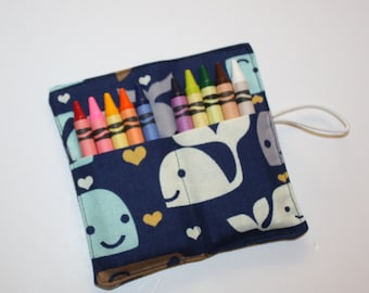 Blue & Gray Whales Crayon Rolls, holds up to 10 Crayons,  Birthday Party Favors, Crayon Rolls, Whales Party Theme
