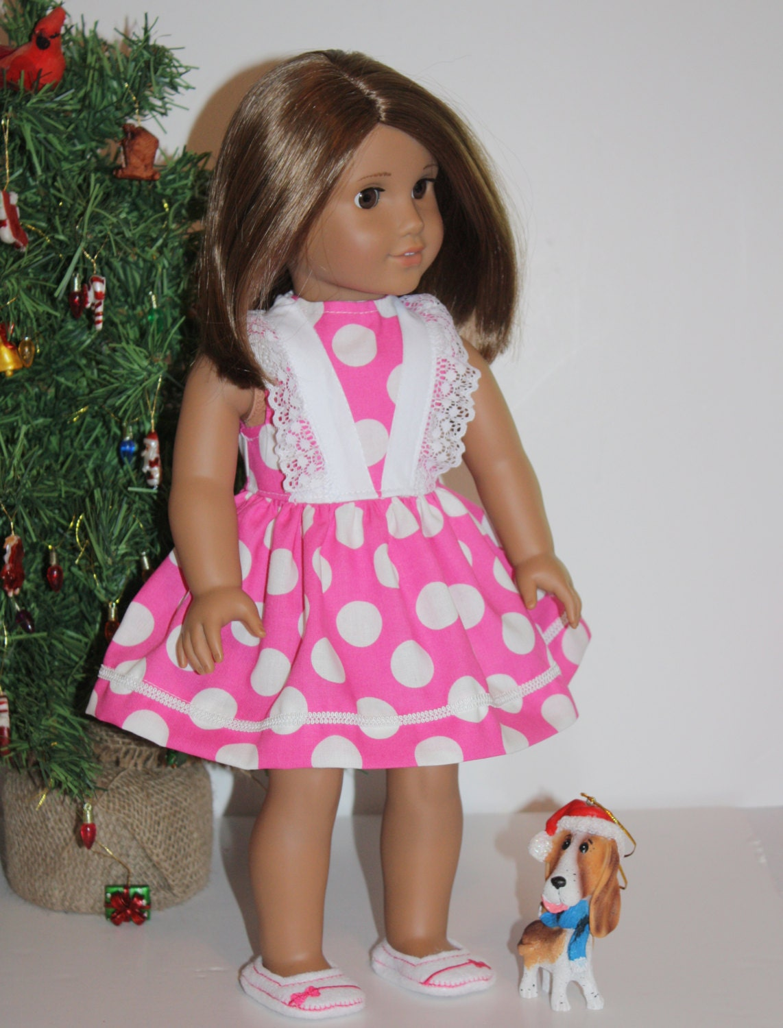 sale doll clothes for american girl pink big white dots lacy. Black Bedroom Furniture Sets. Home Design Ideas