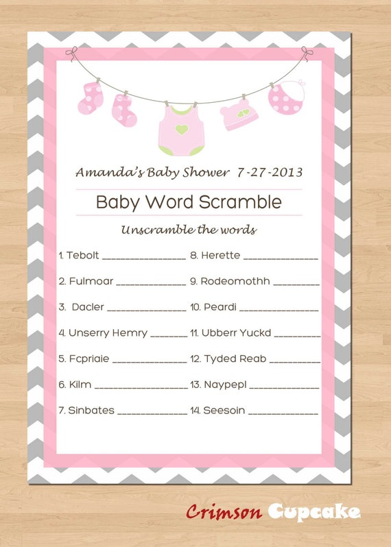 Critical image inside free printable baby shower word scramble