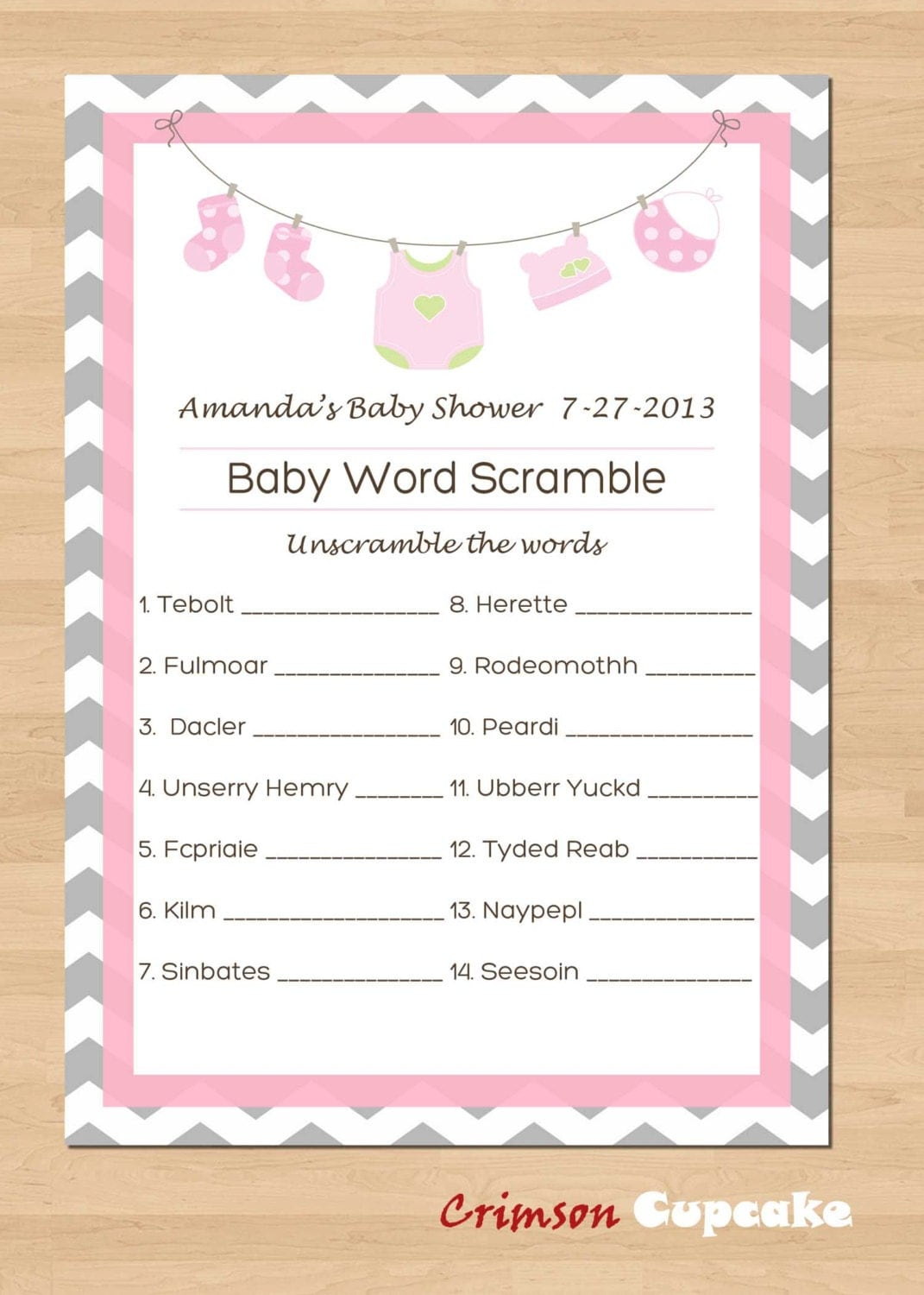 Nifty image within printable baby shower word scramble