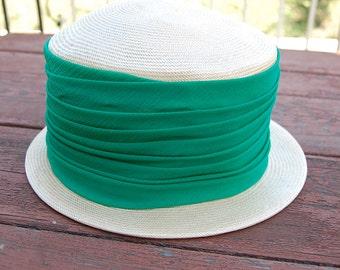 Sale~ Vintage straw HAT green chiffon fashionable classy