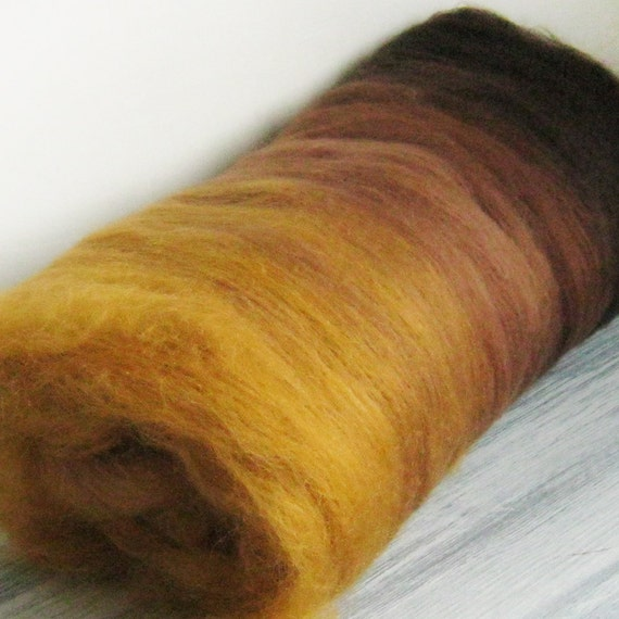 OLD LEATHER fiber batt for spinning and felting in rich fall brown tones of chocolate and rust