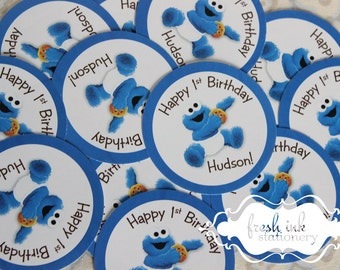 Baby Cookie Monster Personalized Stickers