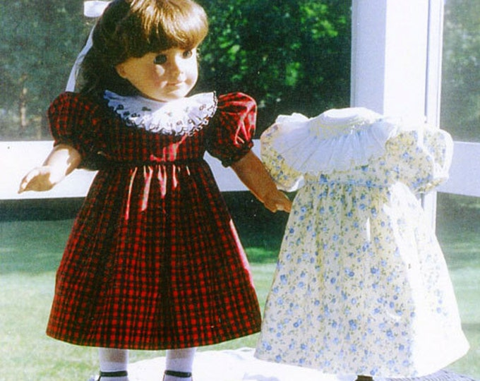 "Doll Pattern / 18"" Doll Pattern / Smocked Collar Party Dress / Slip Pattern/ Smocked Doll Dress / by Carol Clements"