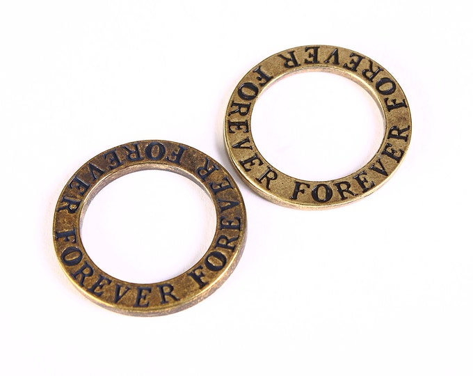 "22mm ""forever"" message circle charm pendant antique brass antique bronze - 4 pieces (1298) - Flat rate shipping"