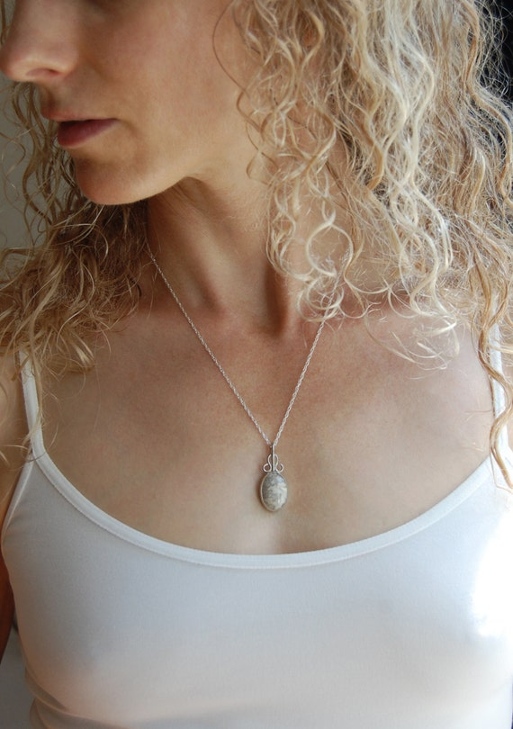 Lace Agate Pendant Artisan Necklace Handmade Simple Silver Necklace Natural Stone Necklace Gift for Her Artisan Jewelry