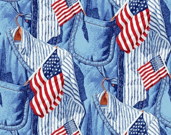 Old Glory American Icon, Flag Fabric, Red, Blue Jean Fabric, Patriotic Fabric, American Flag, 01000A