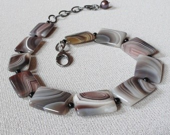 Agate Necklace Choker Necklace In Oxidized Sterling Silver With Botswana Agate Black Onyx And Grey Pearl Fine Jewelry