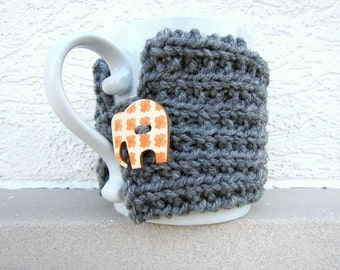 Cup Cozy Knitted Mug Warmer Coffee Gray Grey Elephant Autumn Button Loop Tea Hot Cocoa Sleeve Cover Knit Crochet Orange