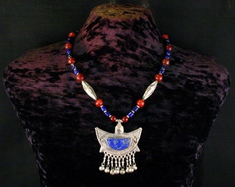 Lapis Pendant Necklace, Carnelian, Red Jade, Bedouin Strand Necklace, Ethnic, Tribal Necklace, African Jewelry, Statement Necklace, Beadwork