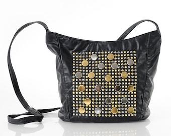 Vintage 80s STUDDED Black leather Shoulder Bag Purse