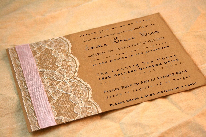 Vintage Baby Shower Invitations ~ Vintage baby shower invitation girl by