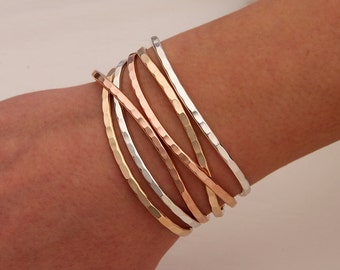 Thin Hammered Cuff Bracelets, Gold, Rose Gold, Silver