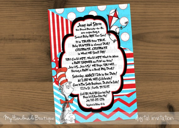 Items similar to Dr. Seuss Theme Baby Shower Invitation ...