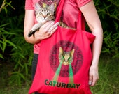 Mayan Laser Caturday Red Canvas Tote with neon laser eyes