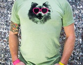 WOW 5 Dollars (S) Pom Love Sage Green Unisex Tee with heart sunglasses