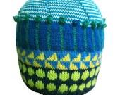 Beanie, Hand Knit Beanie, Original Icelandic Design, Boys Beanie, Girls Beanie,Teen Beanie, Gift, Unique, Whimsical Hand Knit Wool Beanie