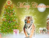 Clemson Tiger Scene Christmas Blank Greeting Card