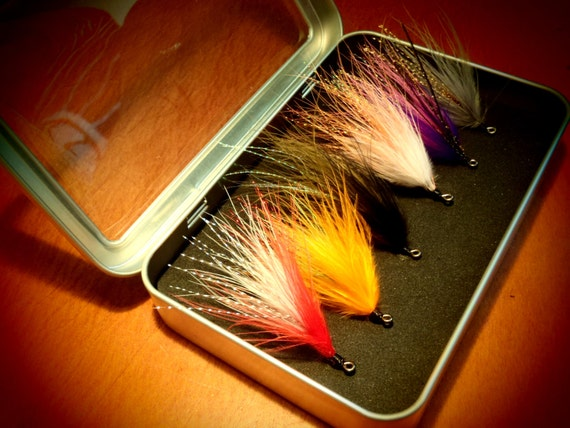 Fly Fishing Flies - Streamer Style salmon, bass, pike, or large trout flies in Window Fly Box - Great gift for a fisherman