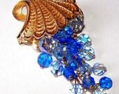 """Designer Brooch Pin Blue Crystal Cascading Dangle Beads Gold Metal Filigree BIG 3 1/4"""" Vintage"""