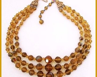 "Czech Crystal Bead Necklace Yellow Topaz Color 3 Strands 1940s Mid Century 16 1/2"" Vintage"