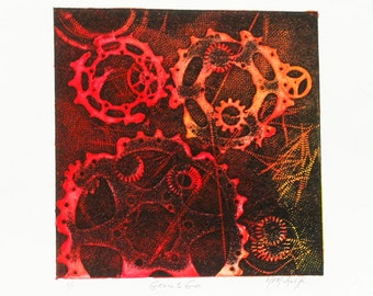 "GEARS TO GO, a one of a kind monotype, 9.75""x11"""